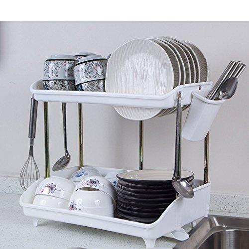 William 337 2 Plateaux de Plate-Forme de Cuisine Cadre de Cuisine Drainage en Plastique Rack Bowl Cabinet Baguettes de Table Vaisselle Rack 45 * 29 * 40CM (Couleur : Blanc, Taille : B-45 * 29 * 40CM)