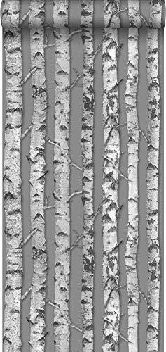 behang berken boomstammen taupe grijs en licht warm grijs - 138892 - van ESTAhome