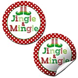 Jingle and Mingle Christmas Thank You Sticker Labels, 40 2' Party Circle Stickers by AmandaCreation, Great for Party Favors, Envelope Seals & Goodie Bags