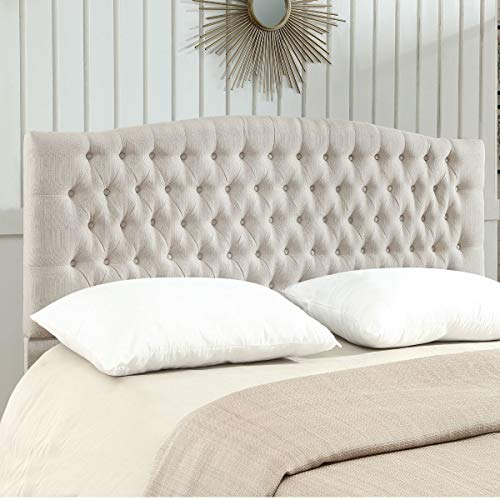 24KF Linen Upholstered Tufted Button King Headboard and Comfortable Fashional Padded King/California King Size headboard - Ivory
