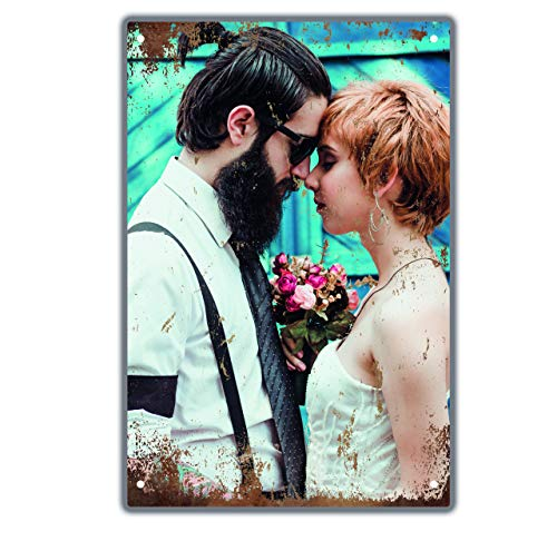Retro Blechschild mit deinem Foto - Metall-Wandbild mit Aufhängesystem ca 21x30cm - Vintage Grunge Style