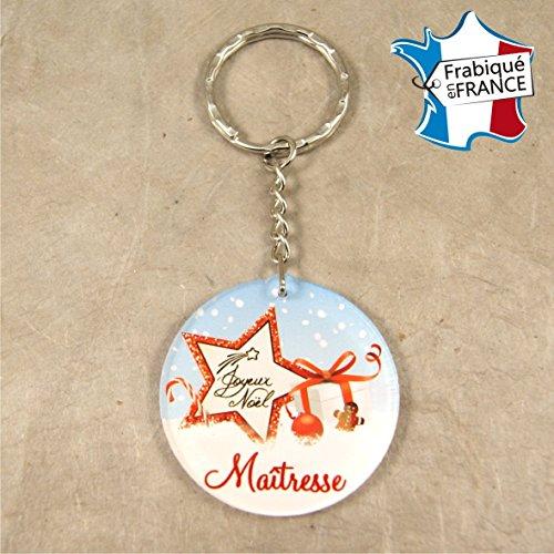 Porte Clef – Joyeux Noël Maîtresse (Cadeau de Noël pour la maîtresse de votre enfant - décoration de Sapin)
