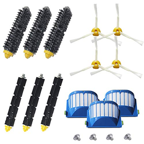 Amyehouse Accessory Replacement Kit of Bristle & Flexible Beater Brushes & 3-Armed Side Brushes & Aero Vac Filters for iRobot Roomba 600 Series 585 595 614 620 630 650 670 671 680 695 Vacuum Parts