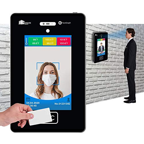 "Touch Free Automatic Temperature Measurement Kiosk Device + Attendance with 10.2"" Display, face Image Recording & RFID - NFC Enabled for Entrance of Schools, Malls, Restaurants, Offices & Theaters"