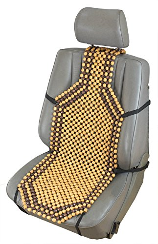 ObboMed SW-7210 4' Higher Shoulder Back for Better Ventilation & Massage Natural Wooden Beaded Car Seat Cover, with Durable Nylon String & Secure Fitting - Size : 50.4' x 15.4' / 132 x 38.5 cm