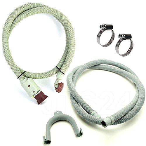 DeClean Anschluss-Set Sicherheits Zulaufschlauch 3/4 Zoll 2,5m Anschlußschlauch Schlauch Waschmaschine Aquastop Ablaufschlauch