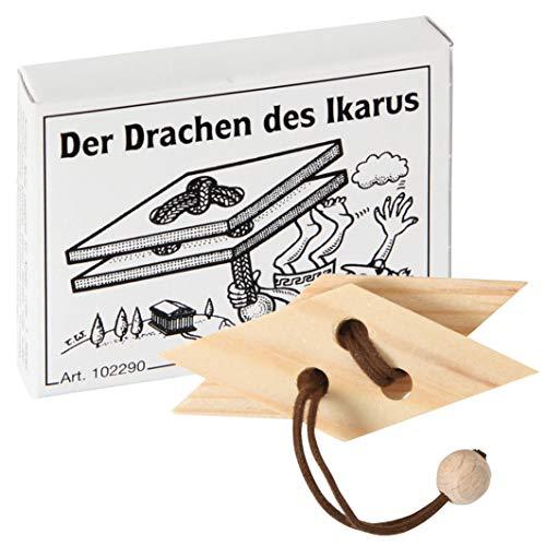 Bartl 102290 Mini-Holz-Puzzle Der Drachen des Ikarus aus 2 kleinen Holzteilen und Einer Schnur mit Holzperle