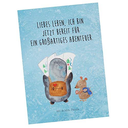 Mr. & Mrs. Panda Grußkarte, Ansichtskarte, Postkarte Pinguin & Maus Wanderer mit Spruch - Farbe Eisblau