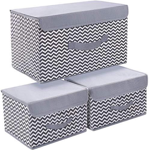 JoyoldelfStorage Bins with Lids, 3 Packs Storage Bins for Closet Shelves Home Foldable Cloth Storage Organizer with Reinforced Handle
