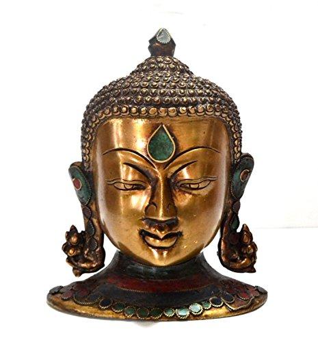 Large Buddha Head Statue Wall Sculpture Art Decor Brass Metal Buddhist Xmas Gifts
