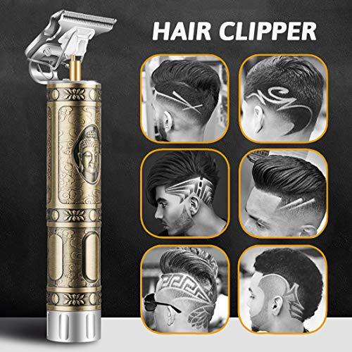 Haarschneidemaschine, 2020 Neu Aktualisiert Herren Haarschneidemaschine Profi, T-Outliner Barttrimmer USB Wiederaufladbar Schnurloser Elektrischer Friseursalon T-Blade Trimmer für Männer (Silber)