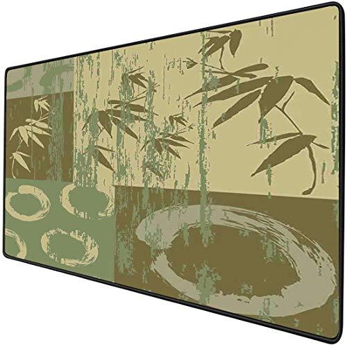Alfombrilla de ratón para juegos Decoración de bambú funcional Alfombrilla de ratón de escritorio gruesa e impermeable Círculo zen y silueta de bambú sobre color vintage Impresión de arte de patchwork