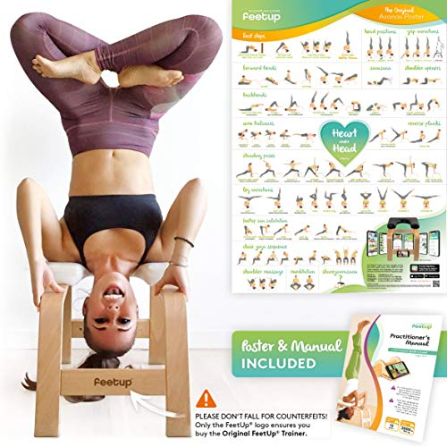 FeetUp® Yoga Kopfstandhocker - Original Kopfstand Trainer Stuhl aus Buchenholz mit Polster (Classic, White)