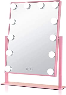 BMJ&C Light Up Vanity Makeup Mirror with LED Lights for Makeup Dressing Table, Professional Illuminated Cosmetic Mirror with 12 Dimmable Bulbs Includes Power Supply