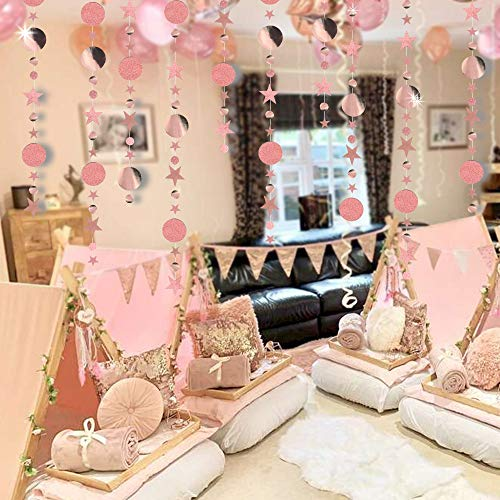 Rose Gold Party Decorations of Dots and Five Pointed Stars Color Band Suit Twinkling Stars Hanging Reflective Background for Engagement/Wedding/Baby Shower/Christmas/Birthday/Children's Room