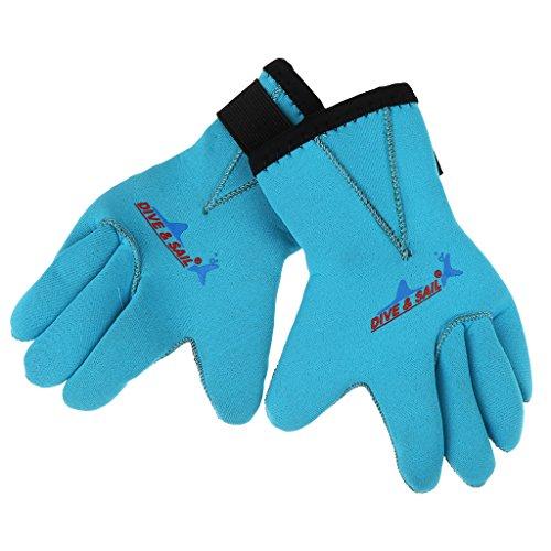 sharprepublic Unisex Kids 3mm Neopren Tauchen Schwimmen Kajak Kanu Surf Neoprenanzug Handschuhe - Blau, S