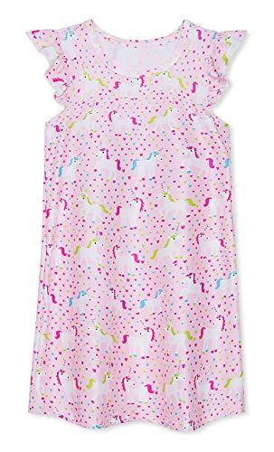 uideazone Little Girls Unicorn Pajama Dresses Short Sleeve Nightgown Sleepwear Cotton Nightshirt Dress for Birthday Party