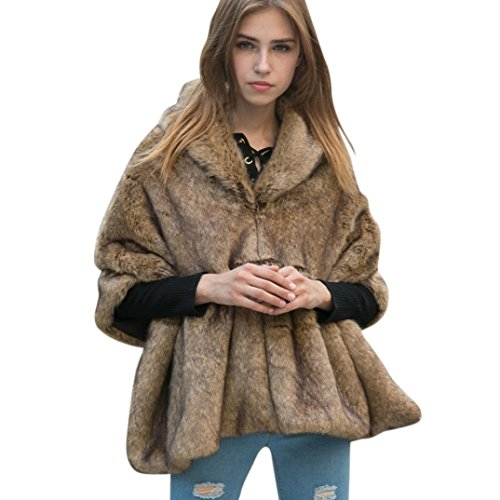 Resplend Damen Einfarbiger Fester Schal Mit Mittlerem Arm Jacke Kunstfell Batwing Mantel Outwear Poncho Cape Tops (Braun)