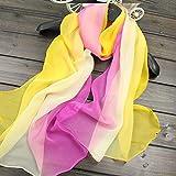 Xme Bufanda de gasa degradada de otoño e invierno, bufanda de mujer, bufanda de seda de simulación de longitud media