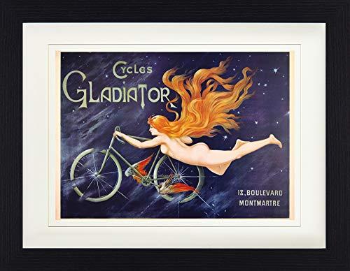 1art1 Historische Werbeplakate - Cycles Gladiator, Nymphe Mit Rotem Haar Und Fahrrad, 1895 Gerahmtes Bild Mit Edlem Passepartout   Wand-Bilder   Kunstdruck Poster Im Bilderrahmen 40 x 30 cm