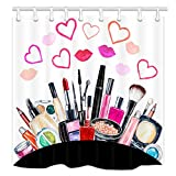 NYMB Teen Girls Makeup Shower Curtain, Watercolor Cosmetic Lipstick Perfume in Heart LipsFabric Shower Curtains for Bathroom, Fashion Woman Shower Curtain Hooks Rings, (69X70in)