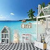 SFALHX Papel pintado Murales Playa soleada costa pared no tejido papel de pared dormitorios/salón/hotel /350x256cm (138.8x100.78 pulgadas)