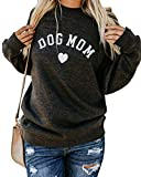 Heymiss Womens Tops Dog Mom Shirt Long Sleeve O Neck Letter Print Tee Dark Grey S