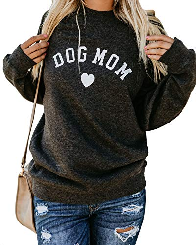 Heymiss Womens Tops Dog Mom Shirt Long Sleeve O Neck Letter Print Tee Dark Grey L
