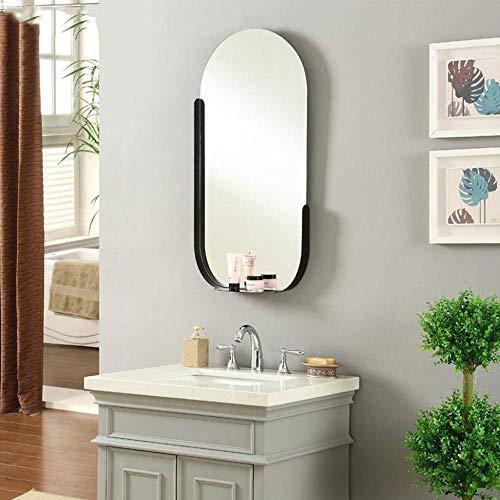 Miroir Maquillage en Acier Inoxydable Salle De Bains Beauté Miroir Nordique Placage en Laiton Brossé Or Dressing Miroir Simple Salle De Bains 45 * 90 Cm,Black