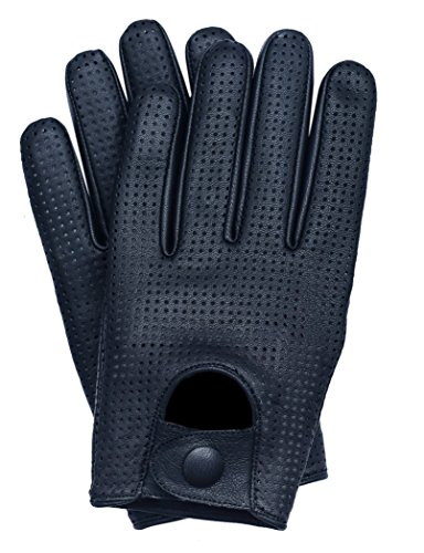 Riparo Women's Genuine Leather Mesh Perforated Driving Motorcycle Gloves (Large, Black)