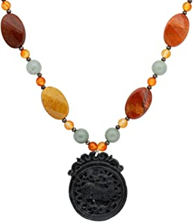 Orchid Jewelry Brown Beads Carnelian and Green Aventurine 925 Sterling Silver Necklace for Women: Nickel Free Beautiful and Stylish Birthday Gift for Mother and Wife