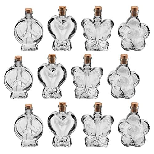 FOMIYES 25 botellas pequeñas de cristal que desean botellas de formas mixtas tarros de vidrio para manualidades con tapón de corcho para manualidades, decoración de bodas