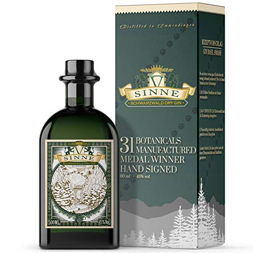 V-SINNE Gin Geschenkverpackung | Schwarzwald Dry Gin – Feel the Black Forest | Gold Prämiert | Premium Gin | Ideal als Gin Tonic | Handcrafted Gin | 31 Botanicals | 45% 500ML