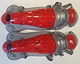 1 Pair Easton LGVEL Red / Gray Velo Adult Catchers Leg Guards Fits Ages 16 & Up