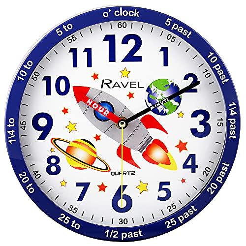 Ravel Reloj de pared para niños de 25 cm, diseño de cohete espacial