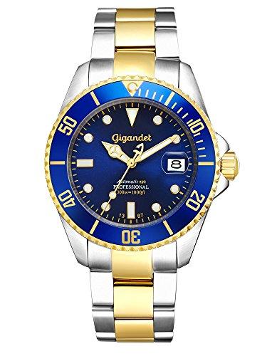 Gigandet Sea Ground Montre Plongée Homme Automatique Analogique Bleu Or G2-001