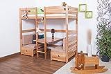 Kinderbett/Etagenbett / Funktionsbett Tim (umbaubar zu einem Tisch mit Bänken oder zu 2 Einzelbetten) Buche massiv natur inkl. Rollrost - 90 x 200 cm