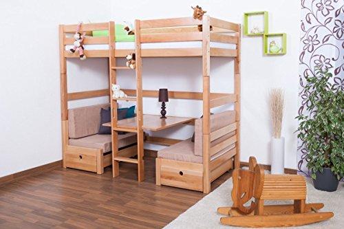 Kinderbett/Etagenbett/Funktionsbett Tim (umbaubar zu einem Tisch mit Bänken oder zu 2 Einzelbetten) Buche massiv natur inkl. Rollrost - 90 x 200 cm