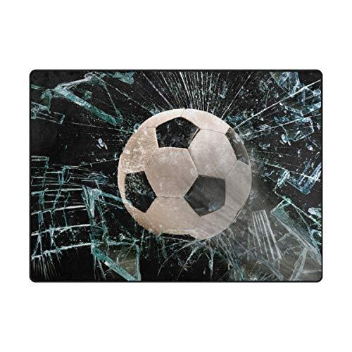 Grand tapis de sol en verre antidérapant et imperméable Motif ballon de football 160 x 122 cm