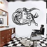 stickers muraux autocollant mural Beauté Salon De Coiffure Femme Salon De Coiffure Coiffeur Styliste Outil Ciseaux Coiffeur Salon Verre Fenêtre Pour Barbier