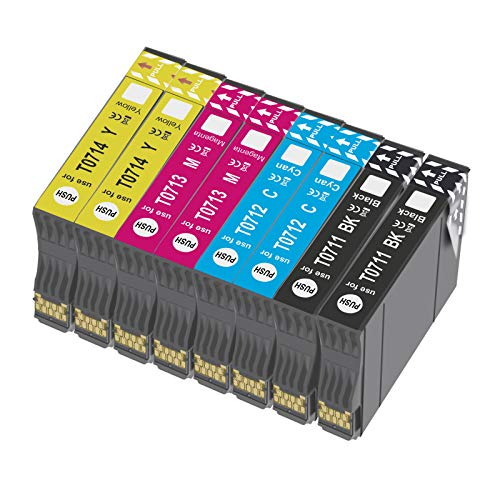 Bada T0715 - Cartucho de tinta compatible para Epson T0711, T0712, T0713, T0714, con Epson Stylus SX218 SX200 SX415 SX400 SX215 BX300F BX310FN SX210 SX215 SX218 DX4050 DX4400 SX100 SX105 SX110 SX115 8