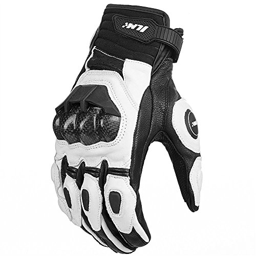 ILM Air Flow Leather Motorcycle Gloves Touchscreen for Men and Women (M, White)