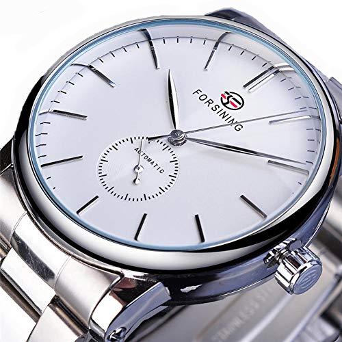 Excellent Herrenuhr Analog Automatisch Uhr Analog Quarz Herrenarmbanduhr mit Metall-Armband Glasboden,Weiß