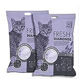 M-PETS Fresh Diamonds - Bolsa de arena de silicona perfumada de lavanda, 7 kg/15 l, 2 paquetes