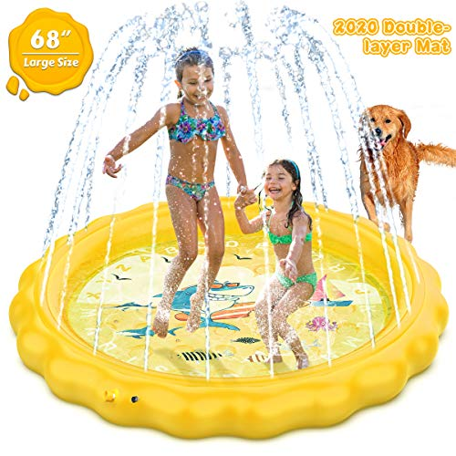 Dillitop Sprinkler for Kids, Splash Pad, Wading Pool and Kiddie Pool, Summer Outdoor Water Play Mat for for Boys Girls Fun Sprinkler Pool Sprinkler Toy Inflatable Spray Pad (Yellow)