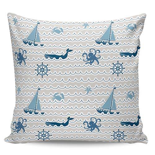 Fundas de almohada de 50,8 x 50,8 cm, diseño de barco náutico, ballena, pulpo, linda estrella de mar, diseño de dibujos animados, cuadrados, para decoración del hogar