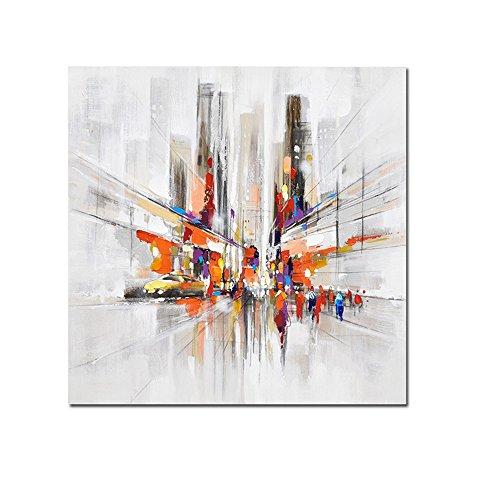 Gbwzz Ciudad Centro de la Ciudad Calles urbanas Cuadro Moderno Pintado a Mano Abstracto Lienzo Pintura al óleo Hecho a Mano Arte de la Pared para, 50x50cm