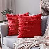 MIULEE Fundas de Cojines Suave y Cómoda Funda de Almohada con Cremallera Invisible para Sófa Cama Dormitorio OficinaLino Duradero Moderno Minimalismo Decoración de Hogar 2 Piezas Rojo 60x60cm