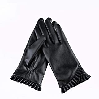 Ladies Leather Gloves Womens Soft Warm Velvety Lining Winter Gloves Touch Screen Mittens with Small Fold Design Decoration (Black)