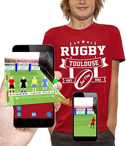 PIXEL EVOLUTION Camiseta 3D Rugby Toulouse en Realidad Aumentada Niño - tamaño 3/4 años - Rojo